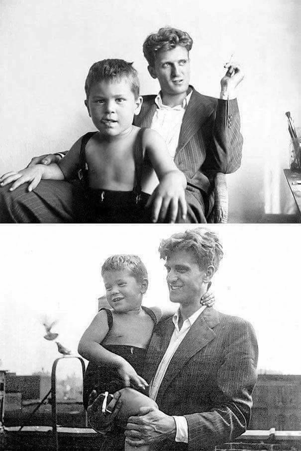 A 3 years old Robert De Niro with his father, 1946