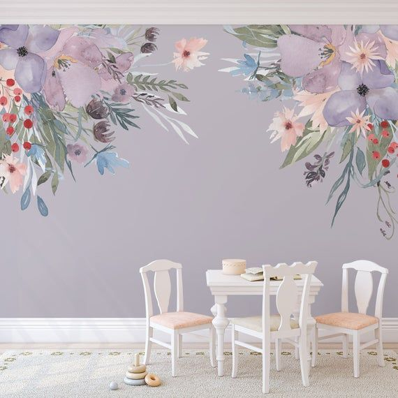 Wild Summer Garden Corners Lavender Pink Wall Decal Flowers Peonies Blooms Wall Mural Watercolor Flower Frame Canopy Blossoms Flower Wall Decals Flower Mural Lavender Walls