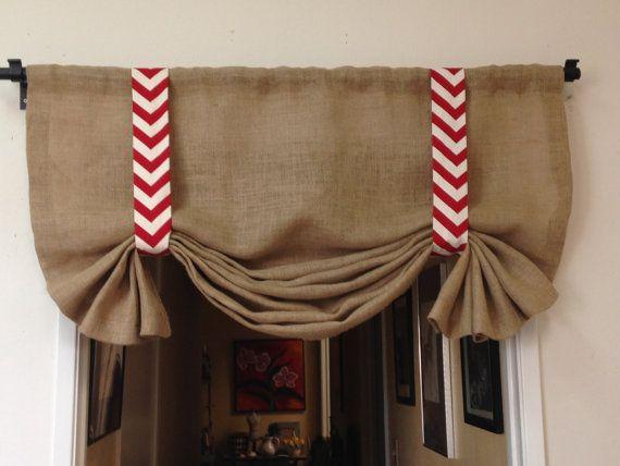 Burlap Valance, Rustic Curtains, Neutral Curtains, Customizable Curtains