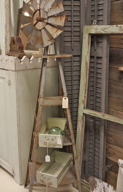 Vintage Windmill with Shelves