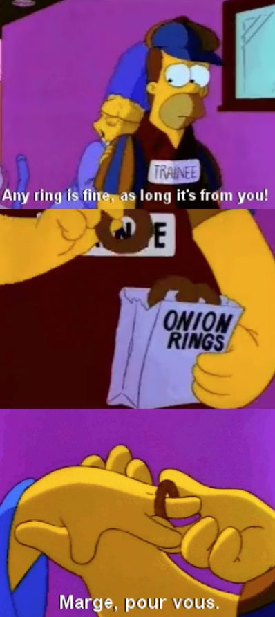 Homer gives Marge an onion ring | Homer and marge