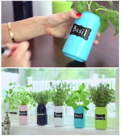 Perfect containers for an Indoor Herb Garden ... spray painted coke cans