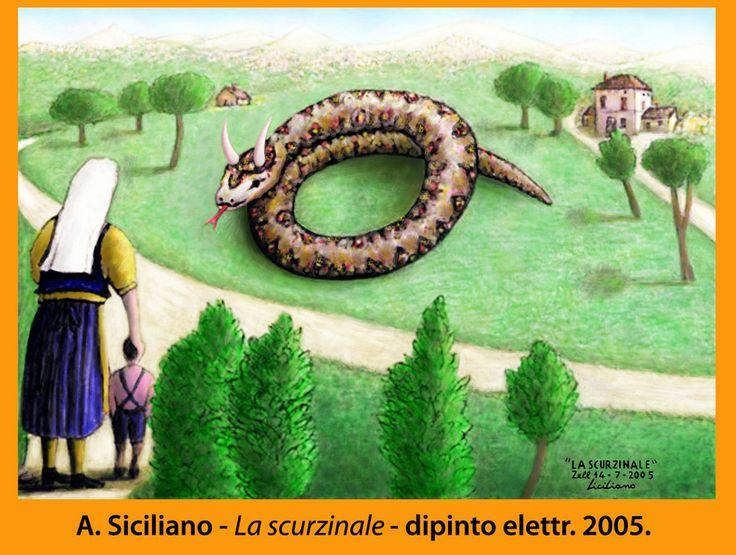 """""""La Scurzinale"""", serpente mitico, secolare e con le corna, anche al maschile """"Lu Scurzinale"""", a Montecalvo Irpino. Disegno a matita del 2005, dipinto elettronicamente. Angelo Siciliano. È collegato a un mio saggio breve, di cui questo è il link: http://www.angelosiciliano.com/RITUALI%20MAGICI%20A%20MONTECALVO%20IRPINO.htm"""