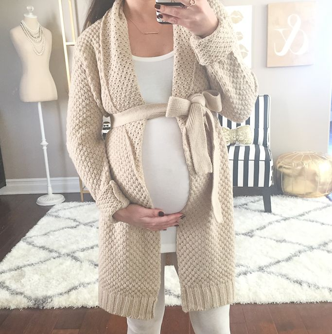 StylishPetite.com | Petite maternity outfits, Forever 21 longline belted cardigan, cream leggings, white tank, pregnant, pregnancy, baby bump, what to wear when you're expecting