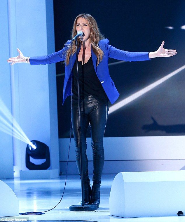 Star turn: Celine Dion performs on Vivement Dimanche (translated as Confidentially Yours)