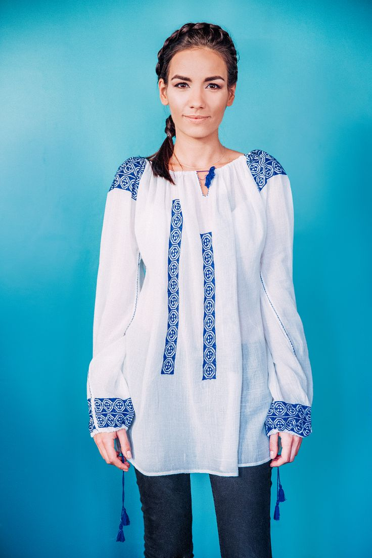 100% handmade Romanian blouse, embroidered on the sleeves and front  with blue thread.  Price: 450 lei (100 EUR) Details on:  facebook.com/singularRO singularwear@yahoo.com #singular #limitededition #readytowear #romanianblouse #traditional #embroidery