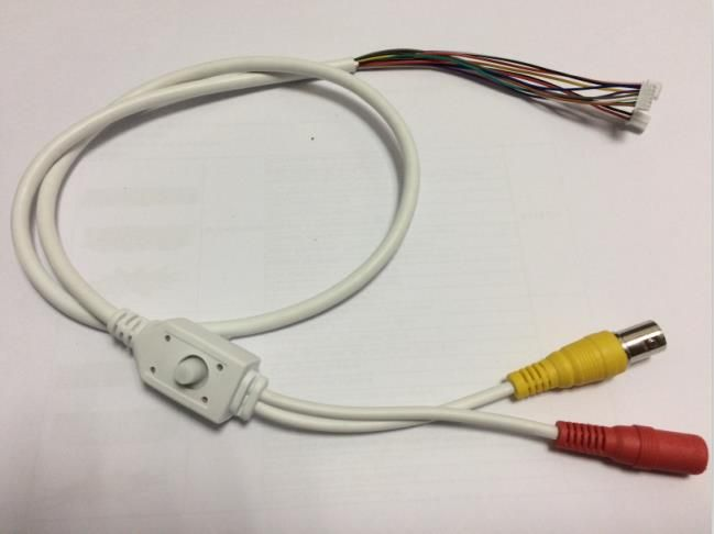 90CM OSD Cable with Power Port + Video Port + OSD Menu Port for CCD Board(White cable)