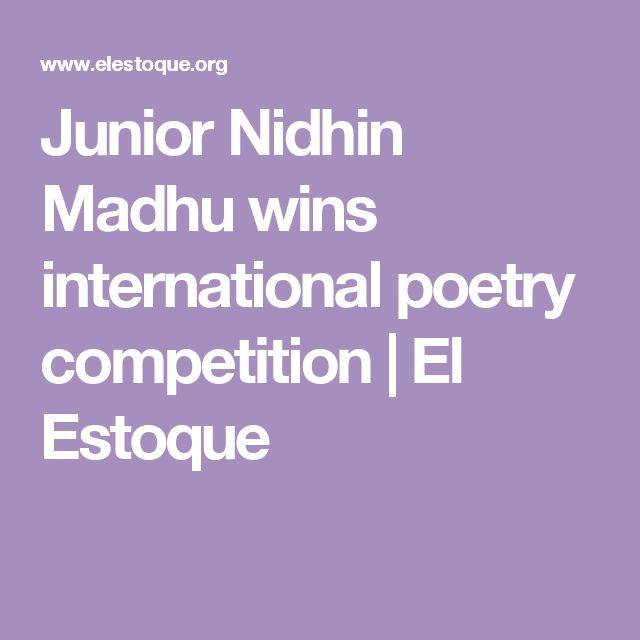Junior Nidhin Madhu wins international poetry competition | El Estoque