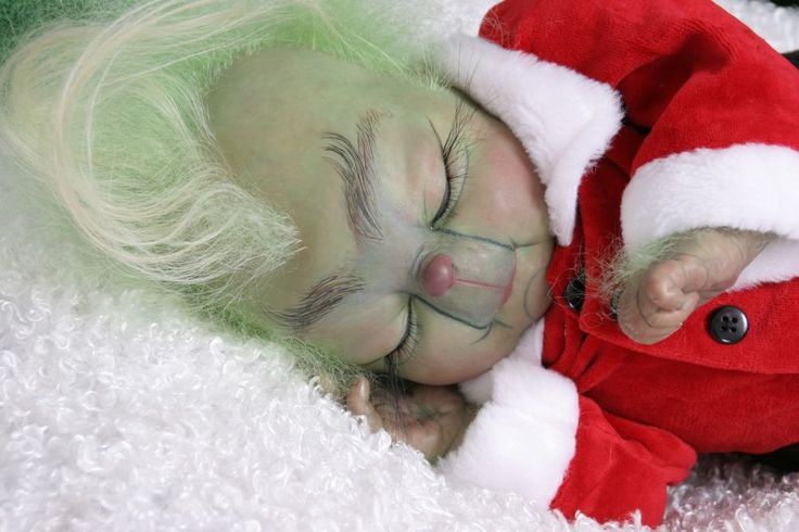 OOAK Adorable Chubby Sleeping Grinch Baby Reborn Art Doll. Reborned by Azita Gonzalez of Cosmic Encounters Nursery November 30, 2014.