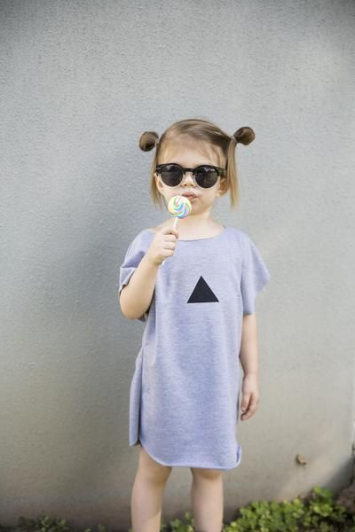 Handmade Triangle Grey French Terry Kids Tunic / Dress