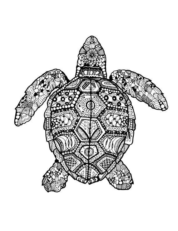 Turtle zentangle drawing di SMONdesigns su Etsy, $7.00