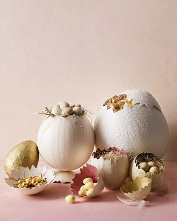 Elegant Papier-Mache Eggs - They may look like porcelain, but these eggs, from from five to 12 inches tall, are made with papier-mache. No painting is necessary; the color is determined by the paper.