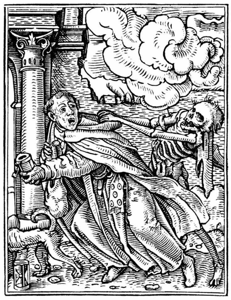 The Monk, Hans Holbein the Younger, from his Dance of Death 41 woodcuts (1523–26).