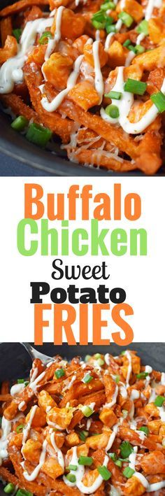 Buffalo Chicken topped Sweet Potato Fries. Crispy sweet potato fries topped with hot wing buffalo chicken, cheese, green onions, and ranch dressing. www.modernhoney.com