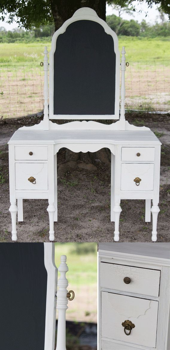 White Vanity with Chalkboard – Timeless Charm Event Rentals -  Beautiful rustic and vintage wedding decor. - Central Florida - Orlando Area Wedding Rental Company