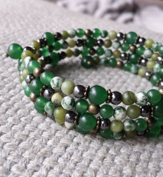 Adventurine Tree Agate Nephrite & Hematite by BeanCreationsbyGill, $25.00