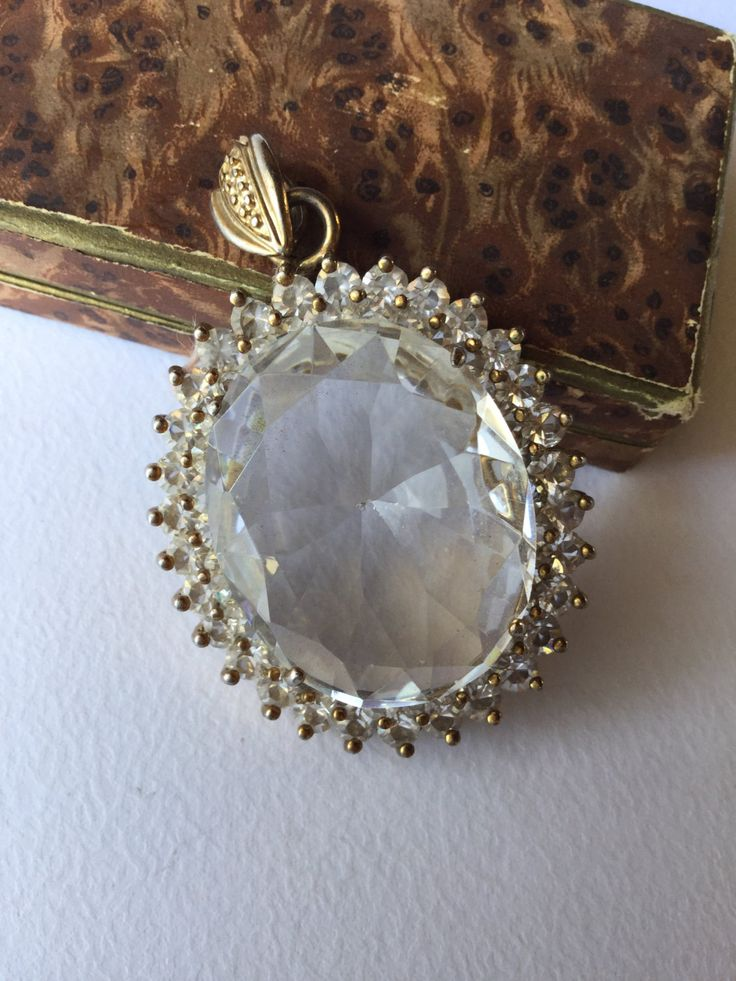 Pendant Victorian style large crystal and gold silver - Grande pendente in stile Vittoriano cristallo e argento dorato di Quieora su Etsy