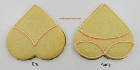 Bra and Panty Cookies Outlined with Tan Piping Icing