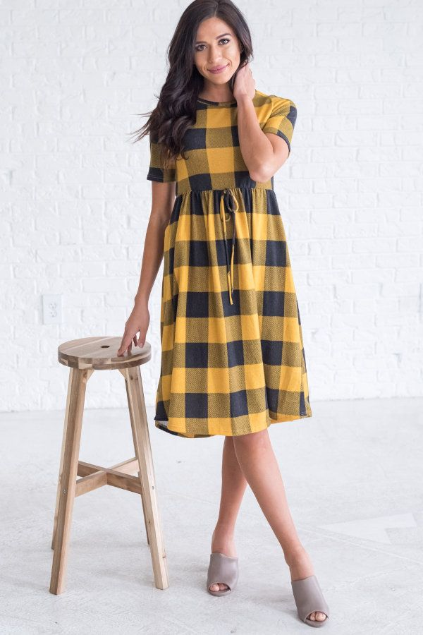 Yellow plaid babydoll dress, cute dress outfit ideas for fall for women, cute dresses for teens for school