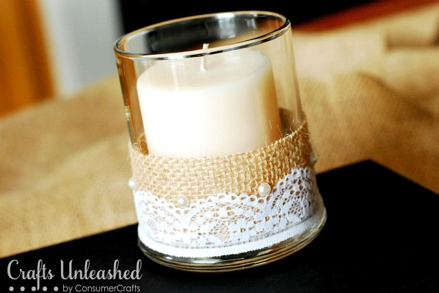 Burlap and Lace Candle Vase tutorial--elegant and rustic meet. Sort of like the bride and groom--so different but together they are lovely.
