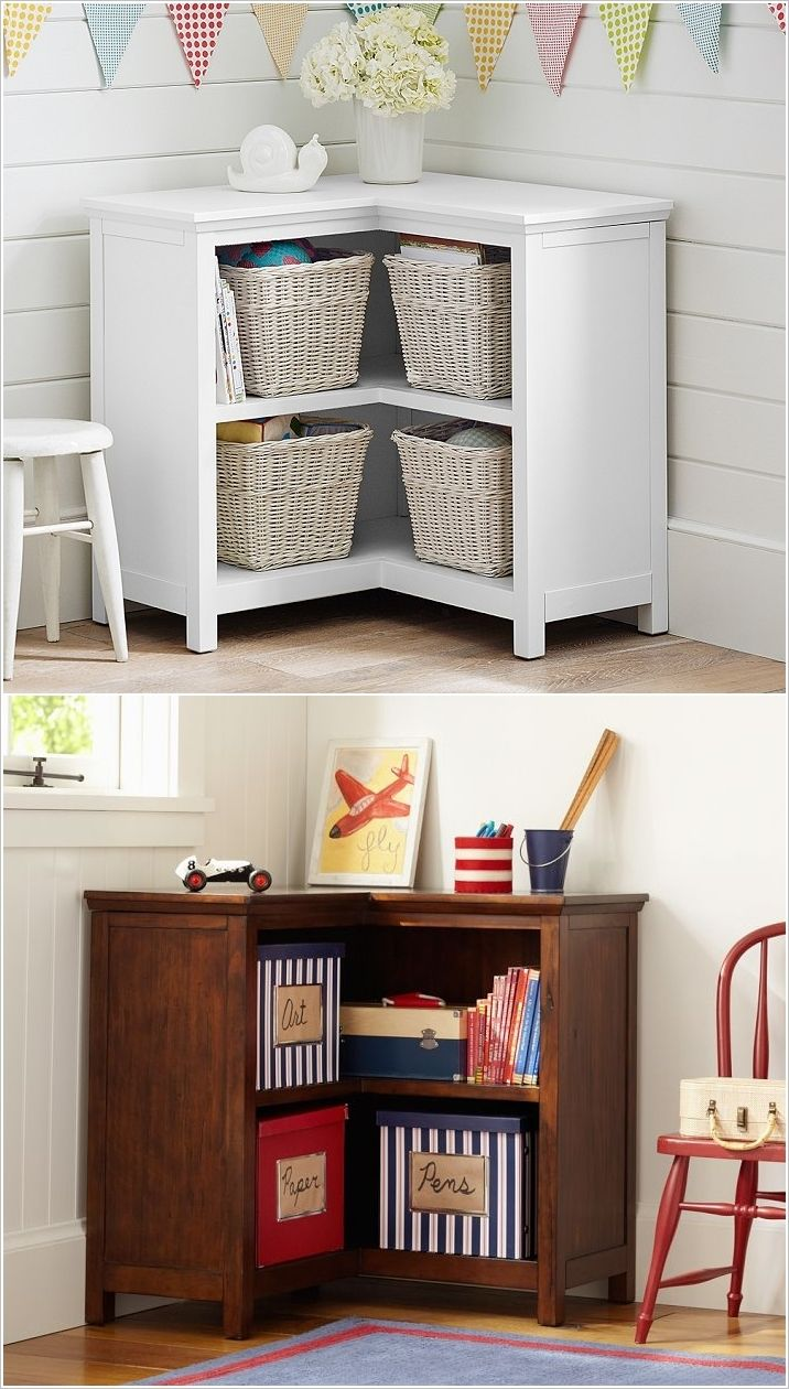 Clever corner storage can maximise space in a small room