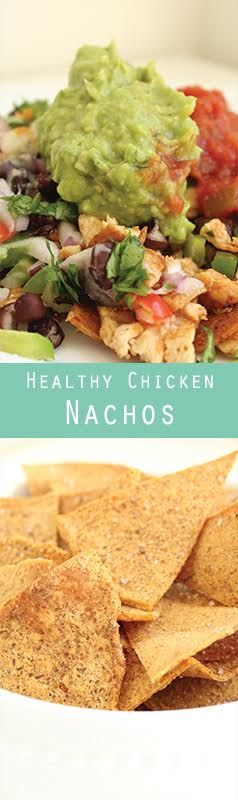 Healthy Baked Chicken Nachos. Gluten free. Simple and delicious weeknight meal.