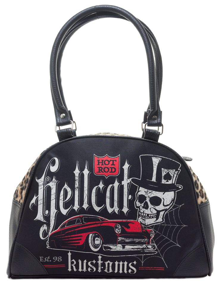 HOTROD+HELLCAT+BOWLING+BAG+KUSTOM+-+Heading+to+a+car+show+this+weekend?+Don't+forget+to+bring+your+#1+accessory+–+the+Hotrod+Hellcat+Kustom+Bowling+Bag.+This+bag+is+perfect+for+all+kustom+kulture+babes,+with+a+hotrod,+spider+web,+and+skull+printed+on+both+the+front+and+back+panels,+furry+leopard+top+panel,+zip+closure,+and+black+lining+interior.+This+bowler+will+fit+all+of+your+must-haves,+and+then+some.+