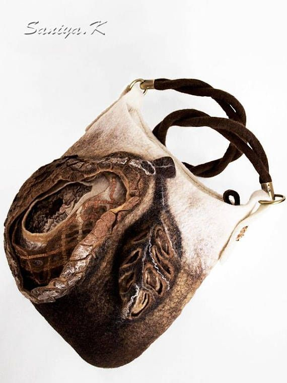 """Felted Bag """"Pear"""" wool handmade felt boho eco fashion bags   https://www.etsy.com/listing/582992961/felted-bag-pear-wool-handmade-felt-boho"""