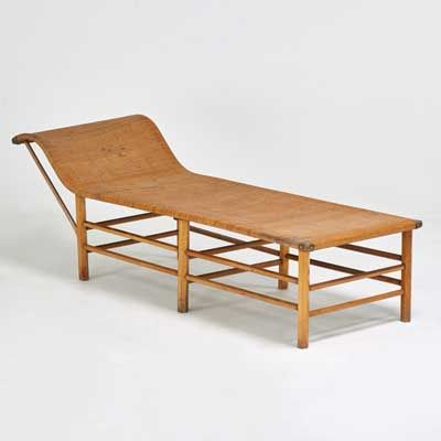 Edwin Wakefield; Stained Wood, Brass and Wicker Chaise Longue. 1940s.