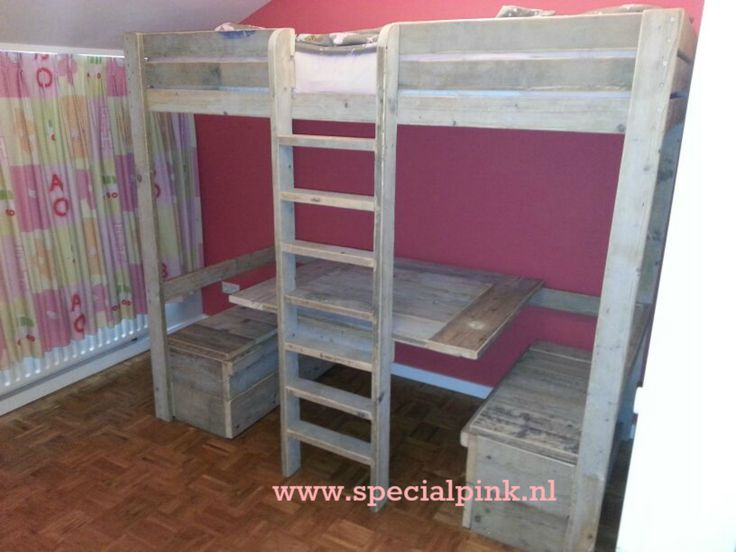 Hoogslaper sabine steigerhout met zitje eronder indi slaapkamer pinterest met - Hoogslaper met geintegreerde garderobe ...