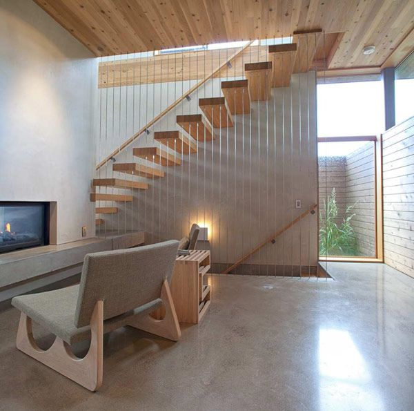 Wooden Details Upper Floor A Sense of Volume And Love For Wood: Modern House in Portland
