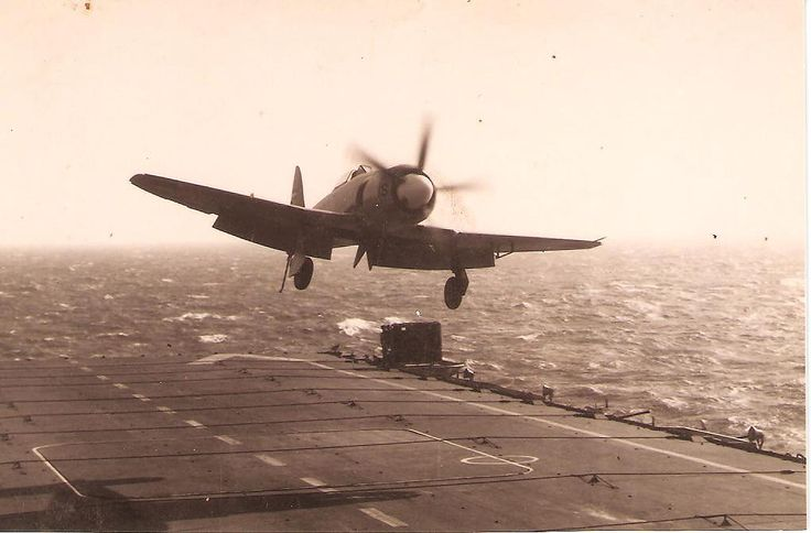 Hawker Sea Fury rn18 of the Dutch Fleet Air Arm landing on the carrier HrMs Karel Doorman in the mid 50s