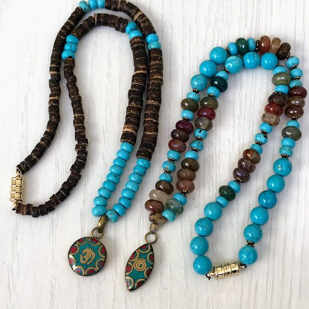 Excited to share the latest addition to my shop: Turquoise OM pendant Necklace, Turquoise Bib Necklace, Tibetan pendant necklace, ethnic bead necklace, Tibetan Turquoise Om Mala Necklace, #etsy #necklace #blue #women #boho #turquoisenecklace