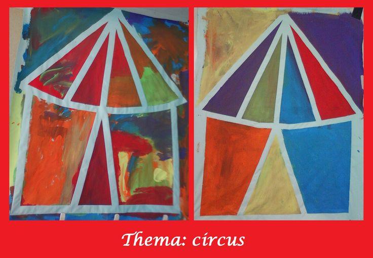 circustent d.m.v afplaktechniek met de kleuters chapiton cirque