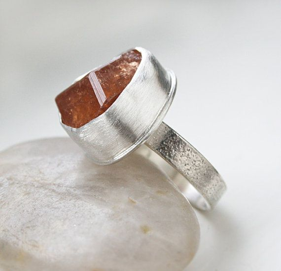 "Hessonite Garnet Ring - Specimen Organic Ring -Naturally Formed Crystal In Fine Silver Bezel Setting ""Cinnamon Stone"" OOAK on Etsy, £67.46"