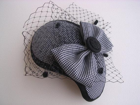 pied de poule fascinator vintage cocktail hat