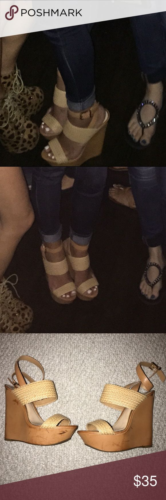 Jessica Simpson wedges Size 8- they are scuffed from wearing but look super cute on! Jessica Simpson Shoes Wedges