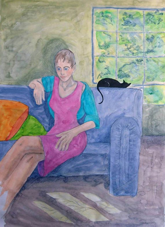 Woman on blue sofa... by filmfactory on Etsy