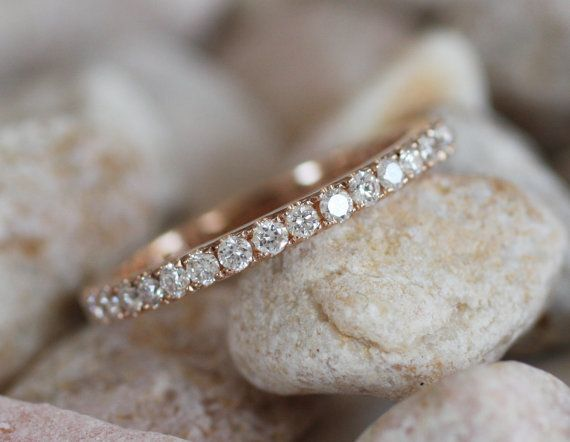 2mm full eternity diamond band - rose, white or yellow gold -made to order. $1,200.00, via Etsy.
