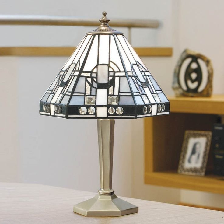122 best lampade da tavolo tiffany images on pinterest stained tiffany table lamp in art deco style silver grey and black on white aloadofball Images