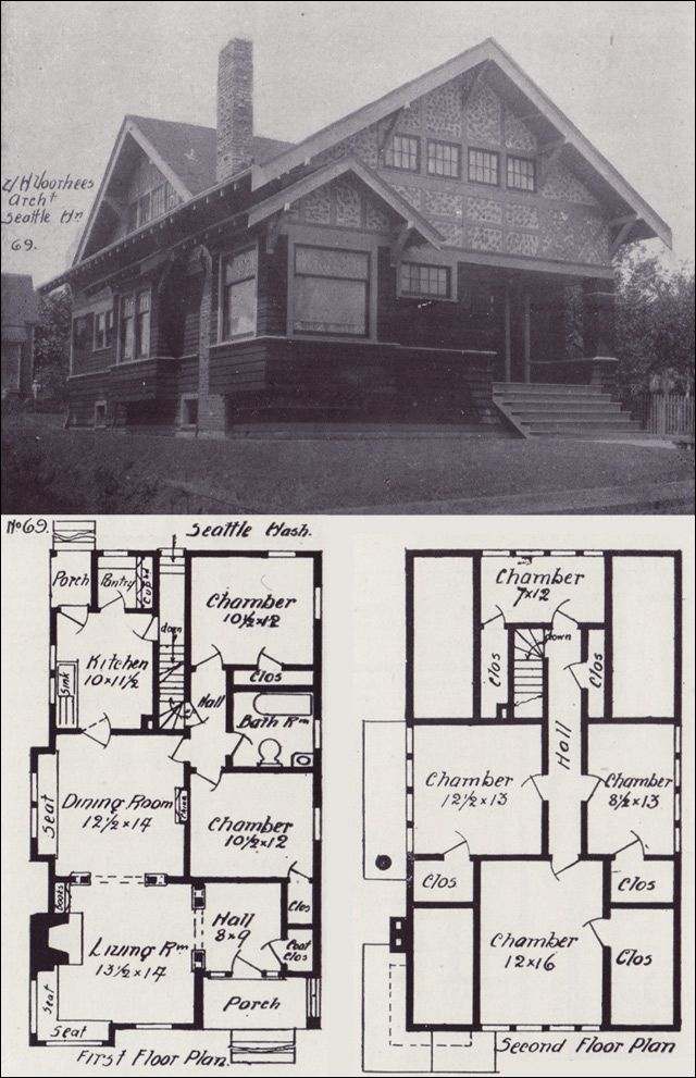 1908 tudor style bungalow plan western home builder vintage house plans no