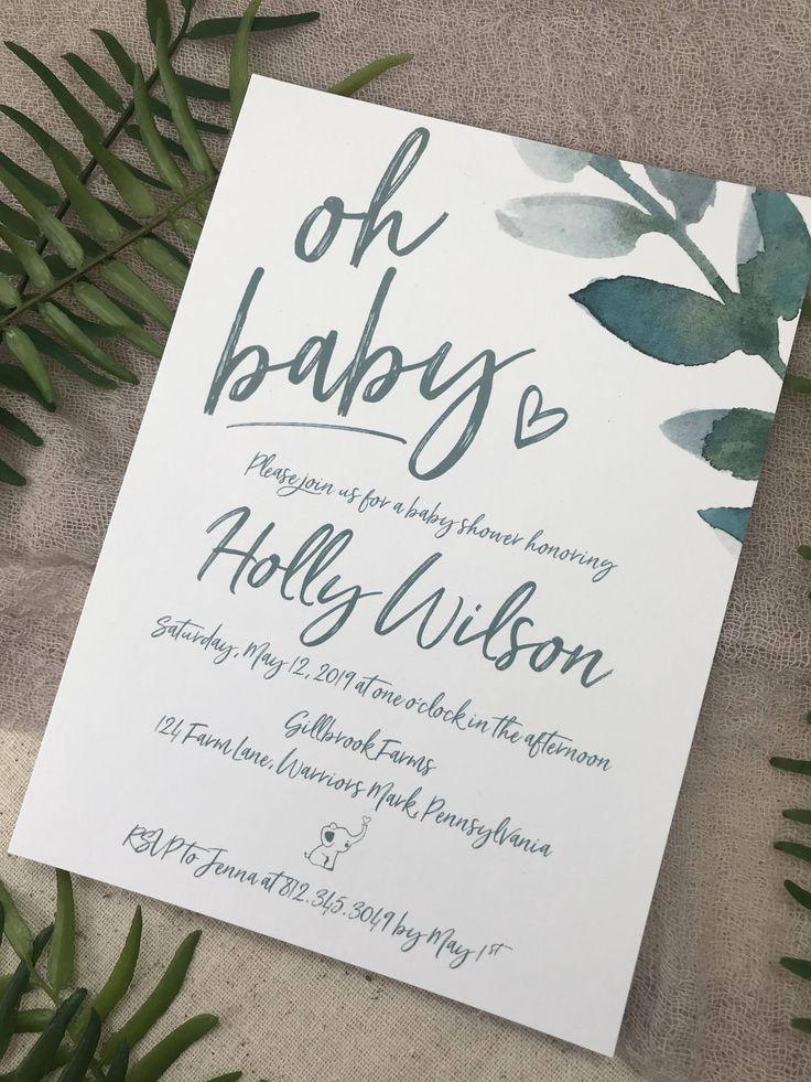 boy baby shower invitations australia%0A BABY SHOWER INVITATIONS        Baby Shower  Greenery  Floral  Gender Neutral