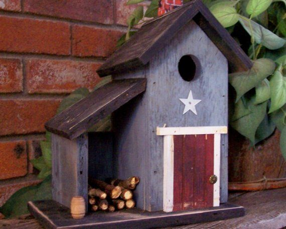 Primitive Country Shed Birdhouse by birdhouseaccents on Etsy