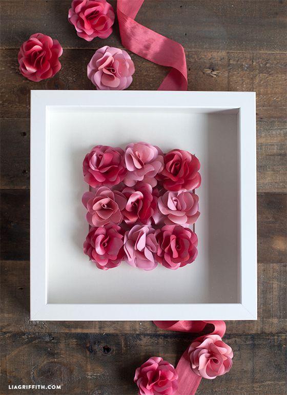 Come fare un quadro con rose di carta Tutorial e Modello da stampare