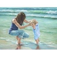 Играя в воде на Грузии Janisse мама с Пляж Детский Сцена Искусство принтеров 12x16