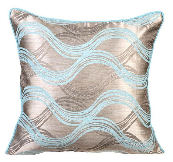 Decorative Swirls Couch Cushion 16 X16 Jacquard Silk Throw Pillow Cover Blue Cushion Pillow Abstract Modern Style Cloud Illusions Banos De Lujo Lujos