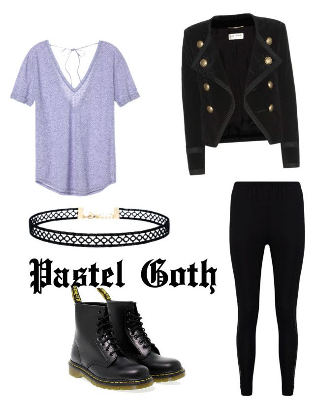 """Pastel Goth"" by abbimp on Polyvore featuring Victoria's Secret, Dr. Martens, Boohoo, Yves Saint Laurent and LULUS"