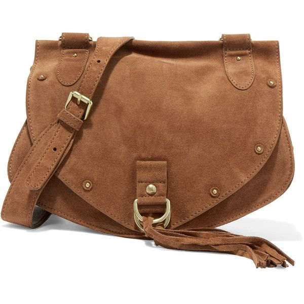 See by Chloé Collins medium suede and textured-leather shoulder bag (€200) via Polyvore featuring bags, handbags, shoulder bags, brown, dark brown shoulder bag, brown purse, shoulder handbags, brown shoulder bag and suede fringe purse