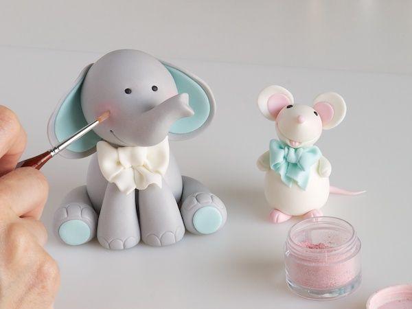Modelado tarta bebé: elefante y ratón » Galletilandia