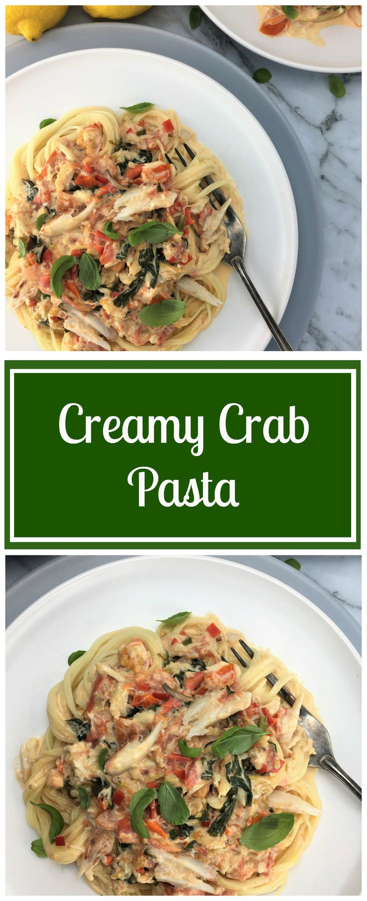 Creamy crab pasta combined with tomatoes, chilli, basil, lemon & garlic